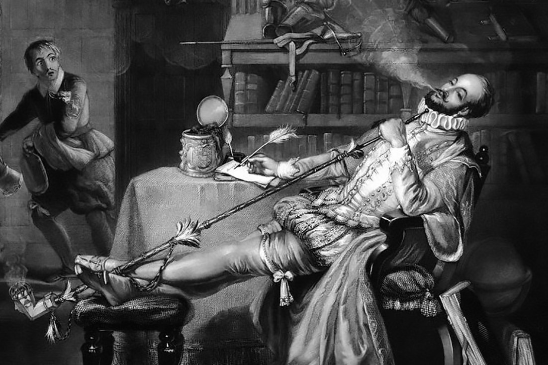 Sir Walter Raleigh's first tobacco pipe in England