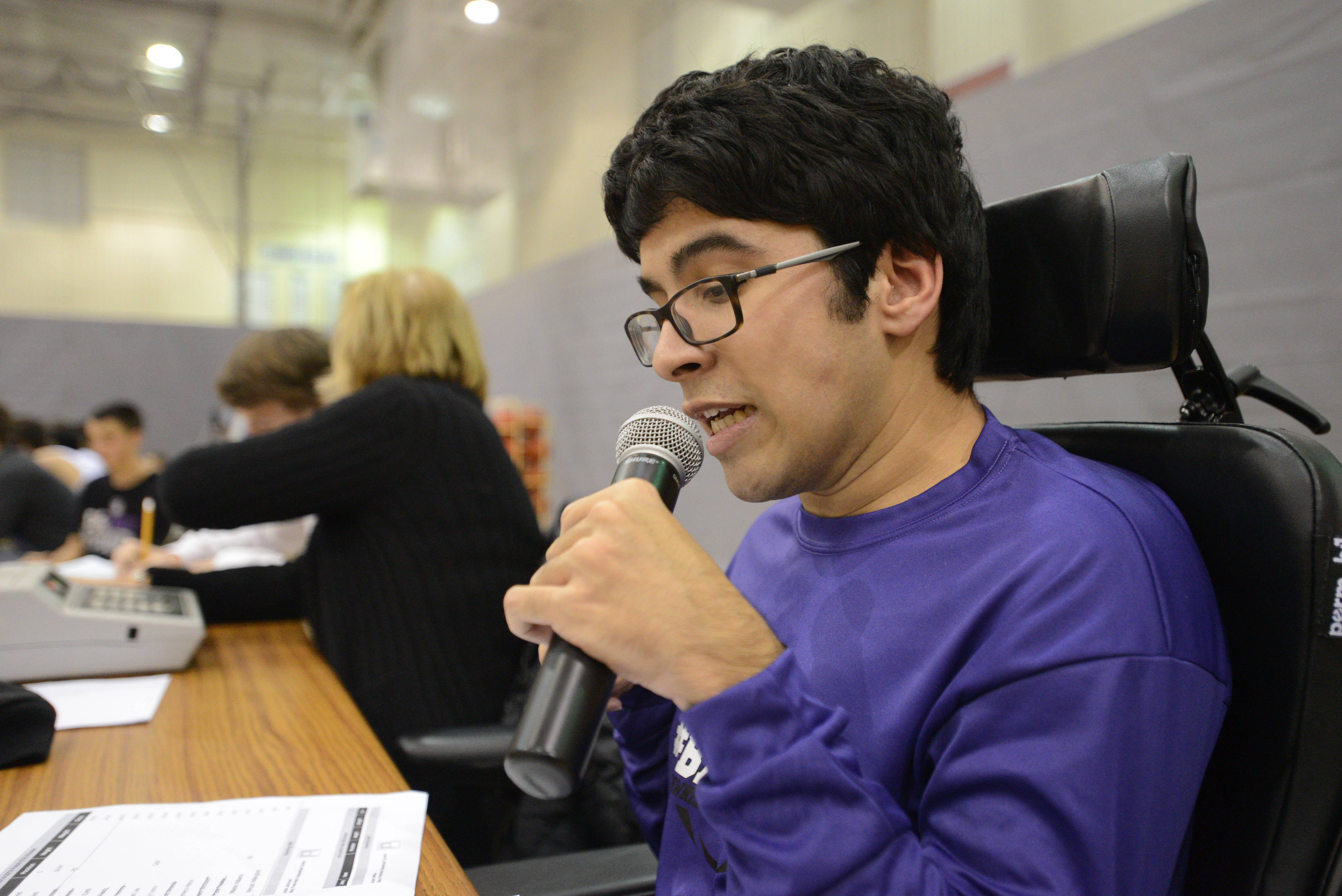 "Zain Bando, 15, hosts an online sports talk radio show and announces games at Downers Grove North High School. ""Since I'm unable to play any of the sports, unless I get them adapted for me, I wanted to be able to express my feelings about it,"" he said."