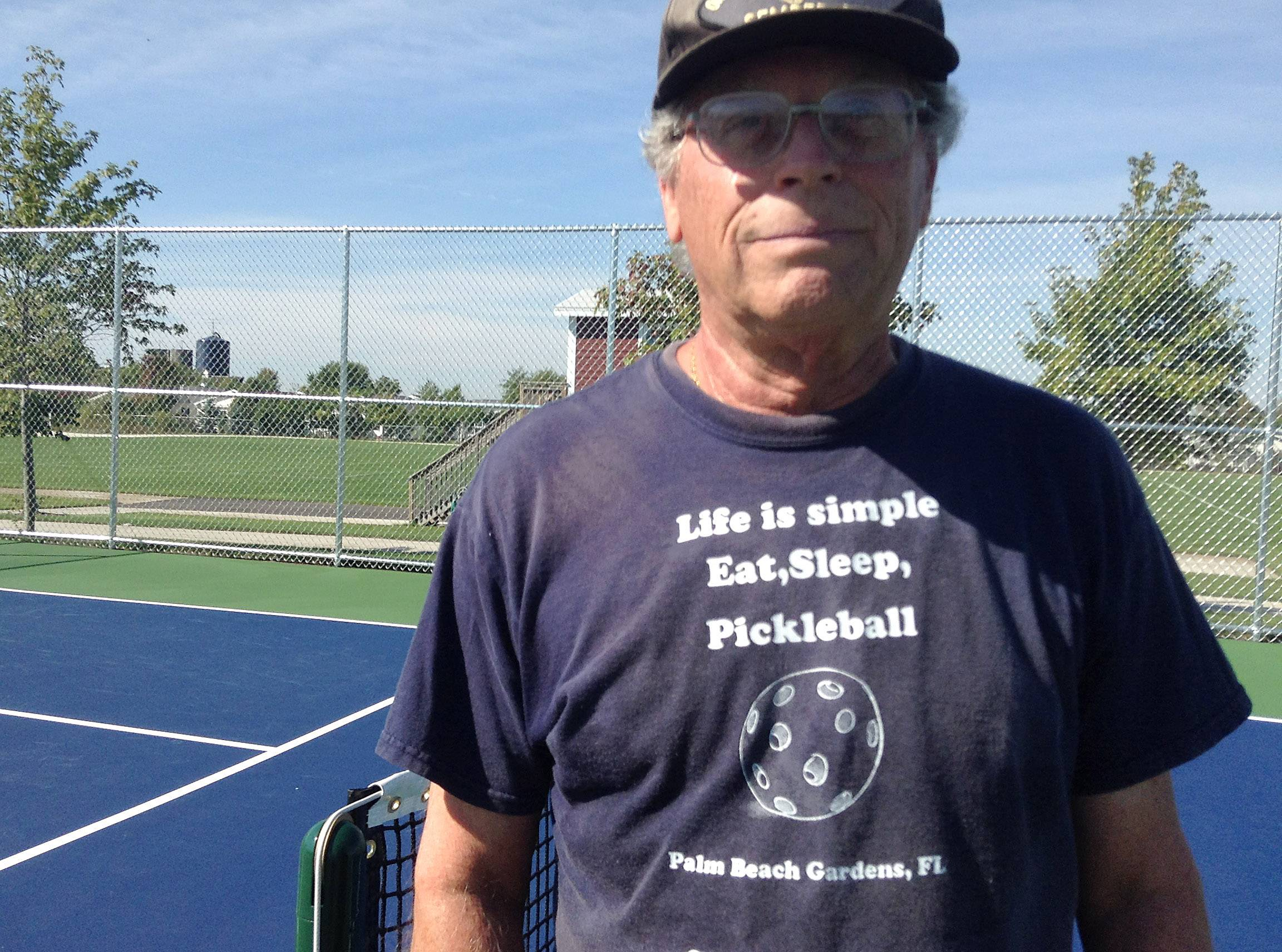 Alan Brown of the Saddlebrook Farms community in Round Lake Park is among the players using the new pickleball courts at Behm Homestead Park in Fremont Township.