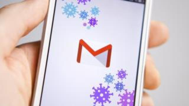 A smartphone with the Gmail logo