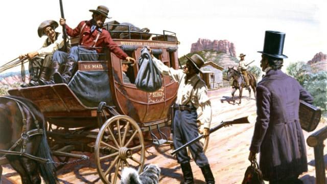 A Butterfield Overland Mail stagecoach, the first overland courier service in California, which picked up American mail and passengers circa 1857 in Arizona.