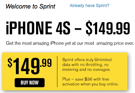 iphone 4s sprint sale