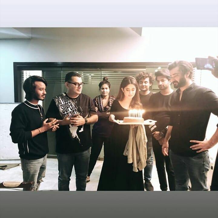 Awesome Sajal Aly Celebrating her Birthday on the Set of Drama Alif