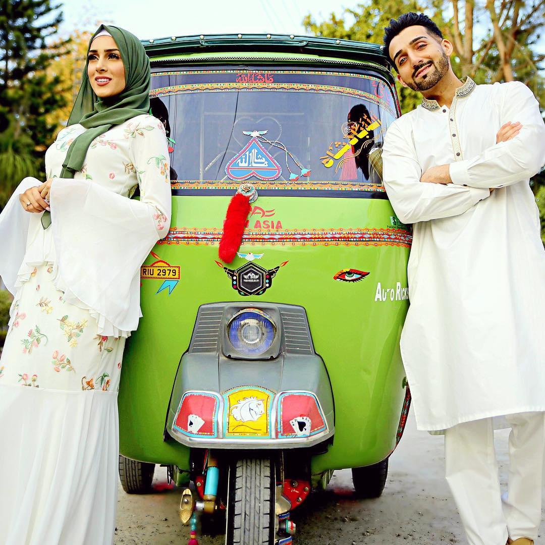 Sham Idrees with his Wife Sahar in Peshawar Pakistan