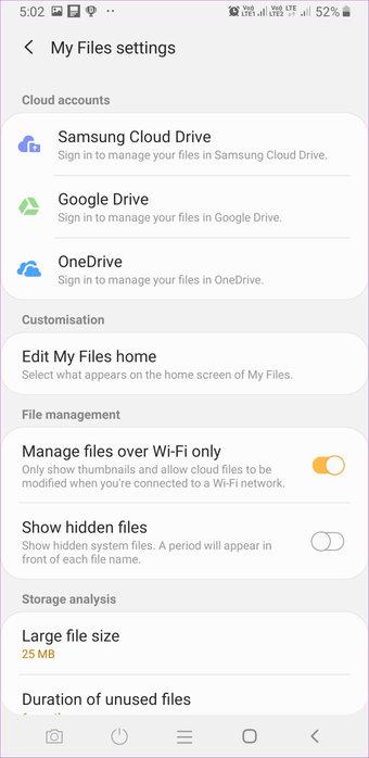 Samsung Files Settings