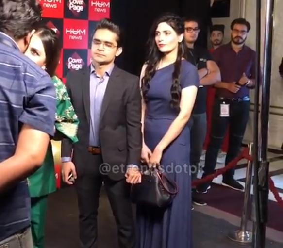 Anchor Shahzeb Khanzada with his Wife at Hum Showcase