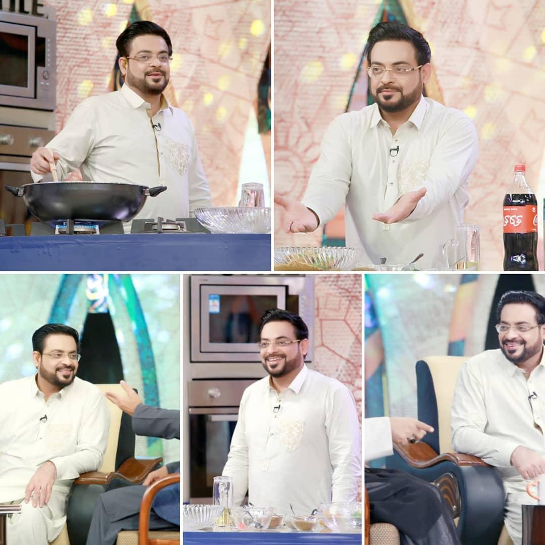 Amir Liaquat Cook Mutton Karahi with his WIfe Tuba in PTV News Ramazan Transmission