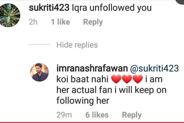Iqra Aziz Unfollowed Imran Ashraf on all Social Media Accounts