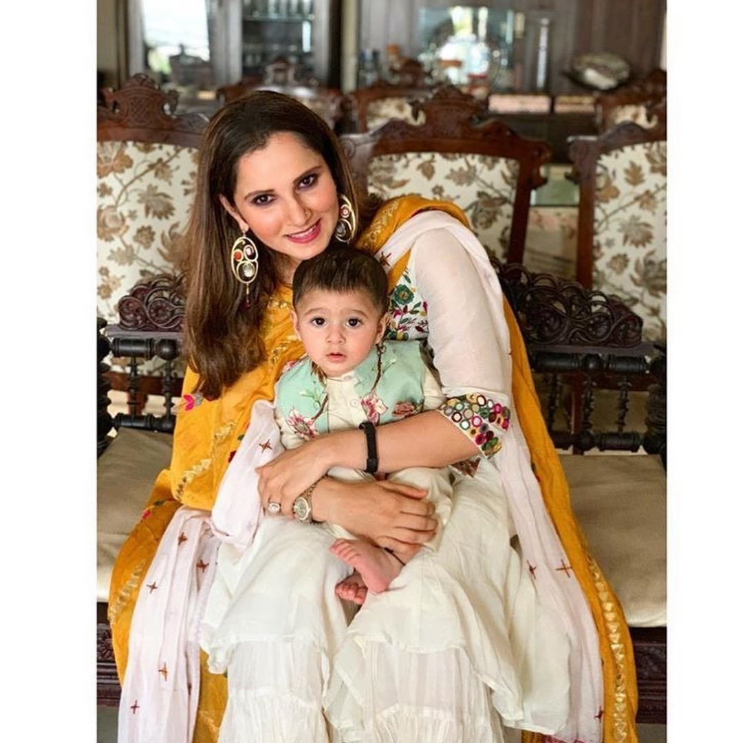 Awesome Photos of Sania Mirza with her Son Izhaan on Eid