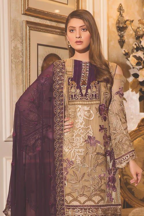 Stylish Pakistani Women Embroidered chiffon collection For Yr 2019 By Ramsha Brand