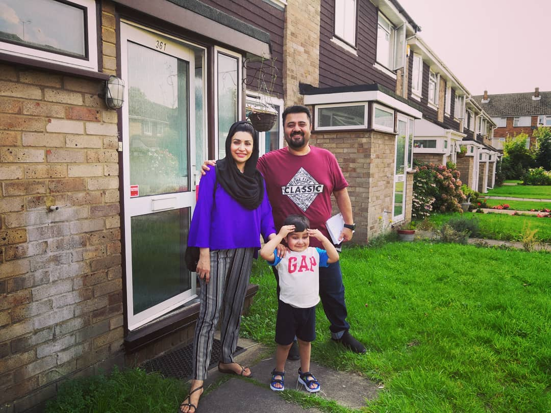 Ahmed Ali Butt with his Wife and Son in London