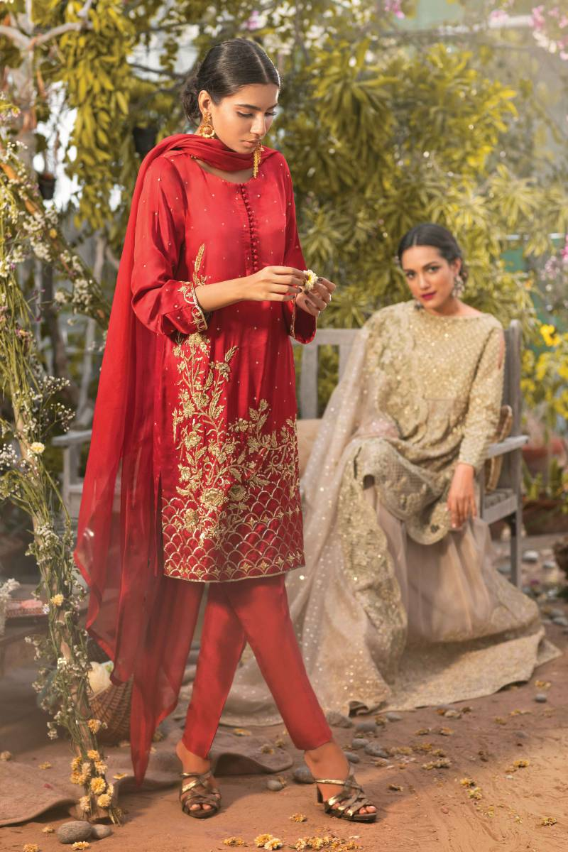 Crimson Red Pakistani Formal Dress by Agha Noor Bridal