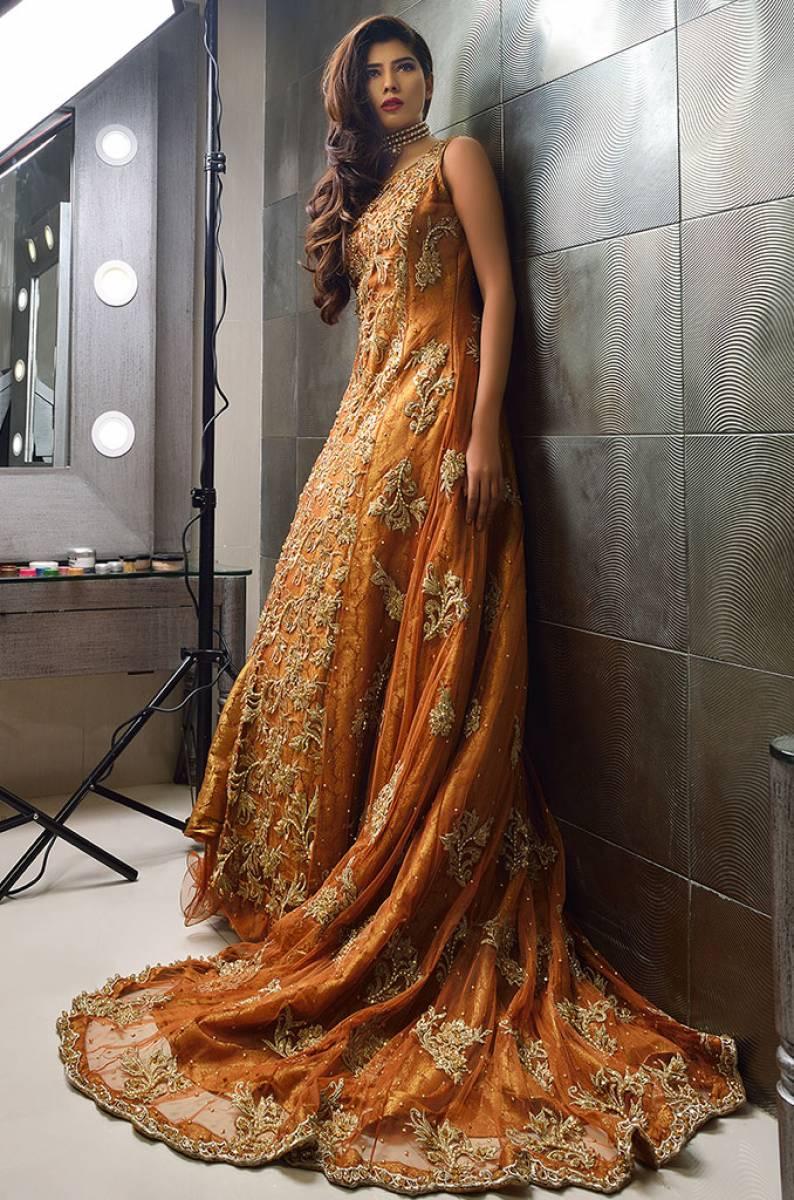 Orange Maxi Dress for Pakistani Weddings