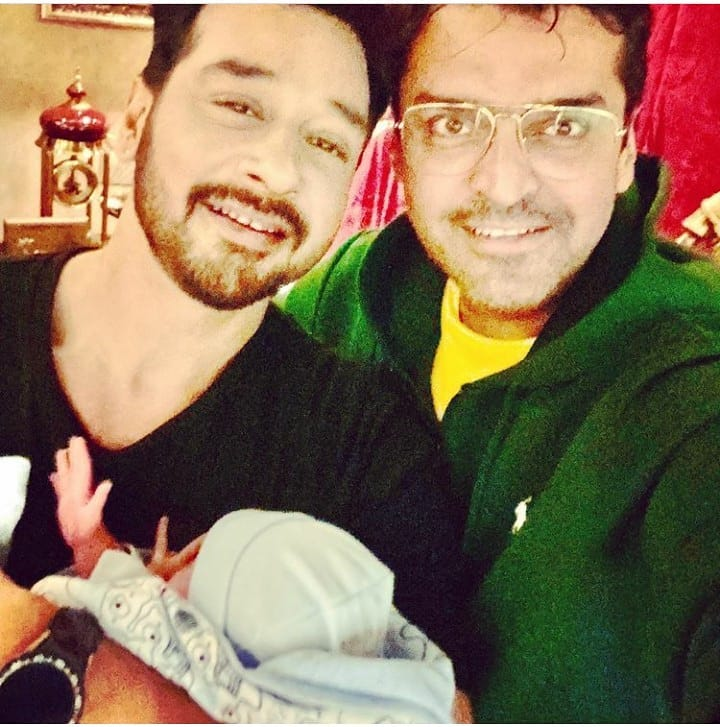 Actor Faysal Qureshi with his Wife and New Born Son Farman Qureshi