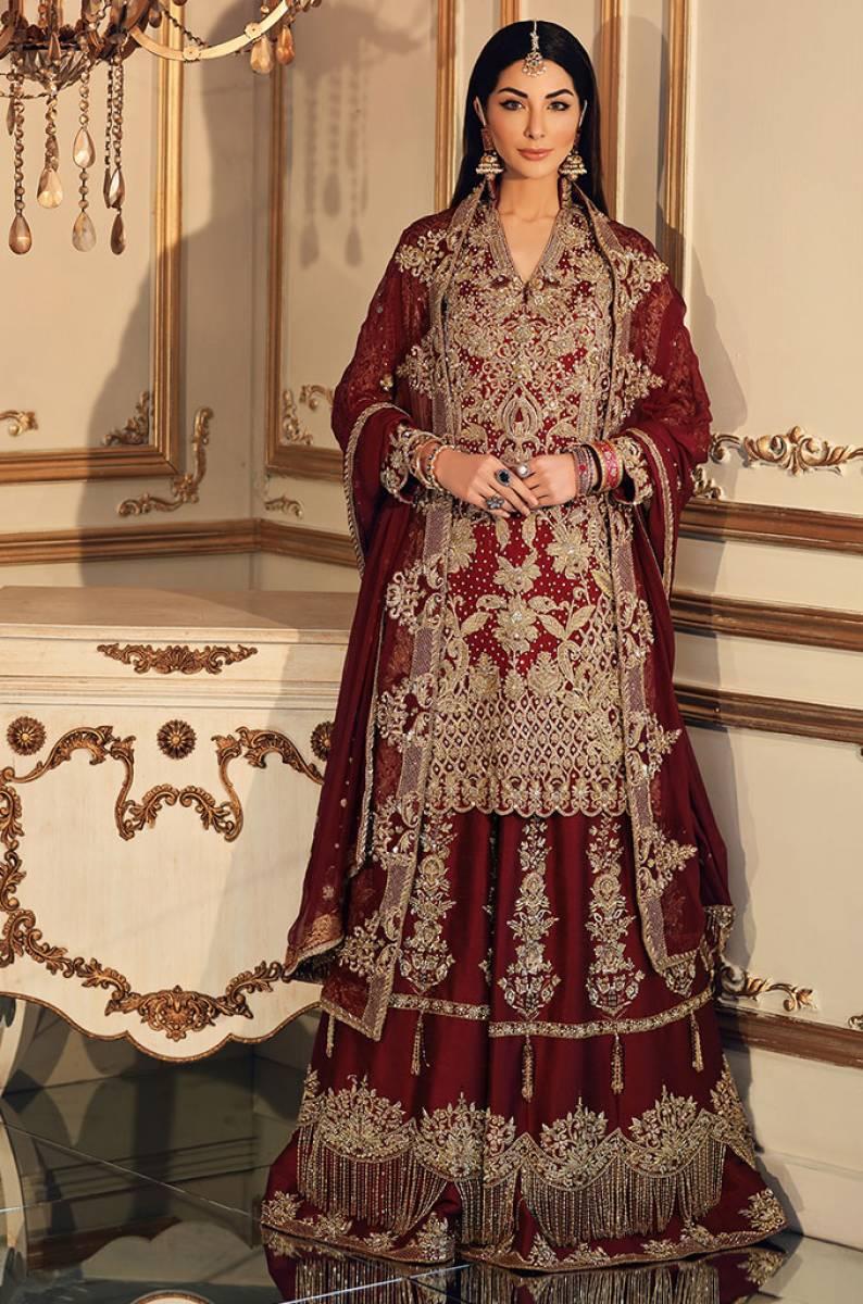 Maha Osman Bridal Lehenga Red
