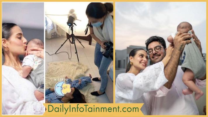 Iqra Aziz BTS Photoshoot with Her Newborn Son