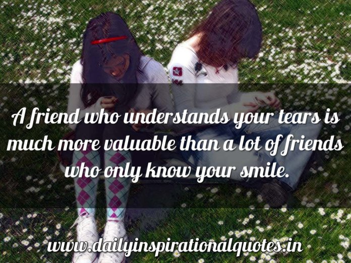 A friend who understands your tears is much more… ( Friendship Quotes )