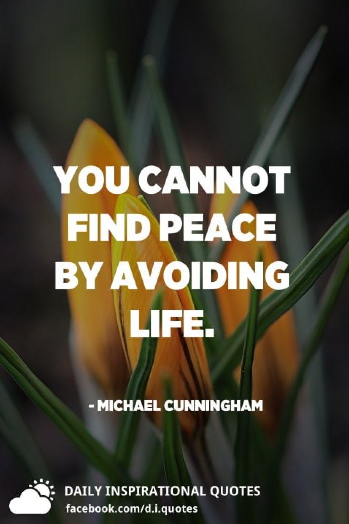 You cannot find peace by avoiding life. - Michael Cunningham