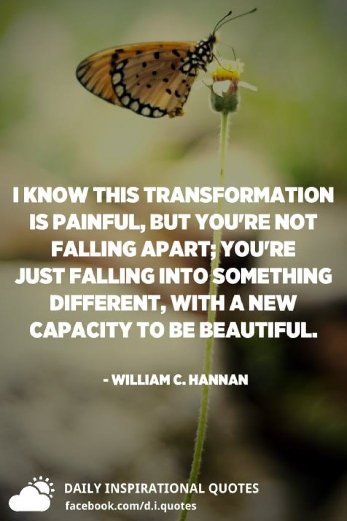 I know this transformation is painful, but you're not falling apart; you're just falling into something different, with a new capacity to be beautiful. - William C. Hannan