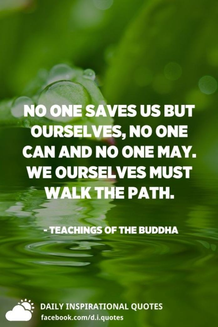No one saves us but ourselves, no one can and no one may. We ourselves must walk the path. - Teachings of the Buddha