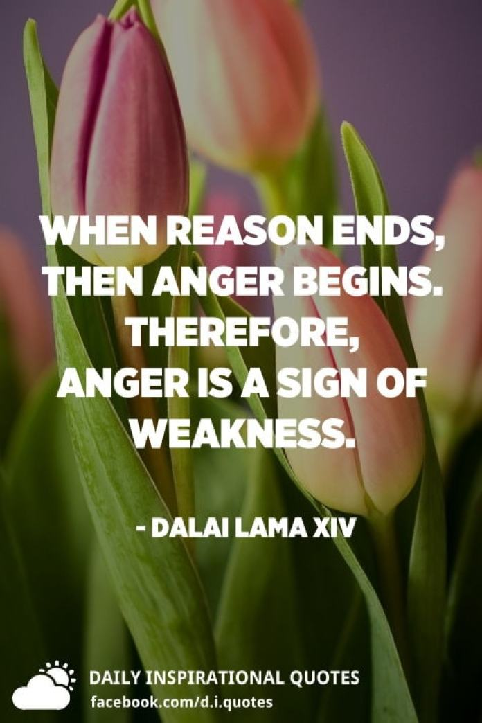When reason ends, then anger begins. Therefore, anger is a sign of weakness. - Dalai Lama XIV