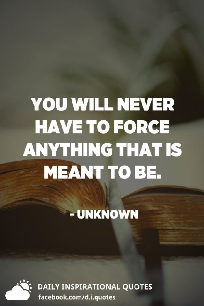 You will never have to force anything that is meant to be. - Unknown