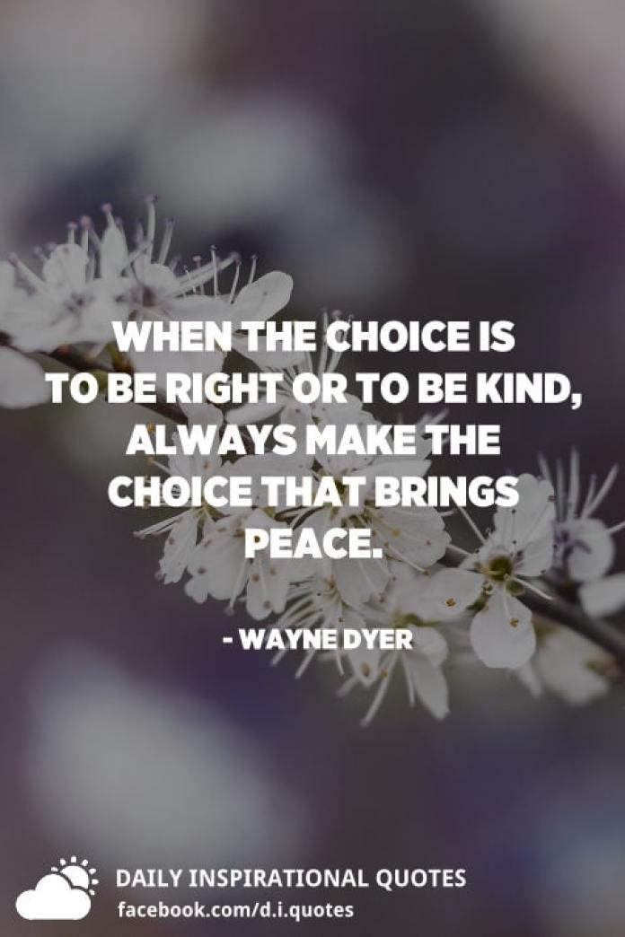 When the choice is to be right or to be kind, always make the choice that brings peace. - Wayne Dyer