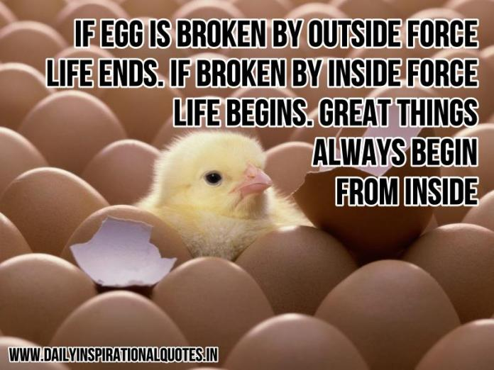If egg is broken by outside force, life ends. If broken by inside force, life begins. Great things always begin from inside. ~ Anonymous