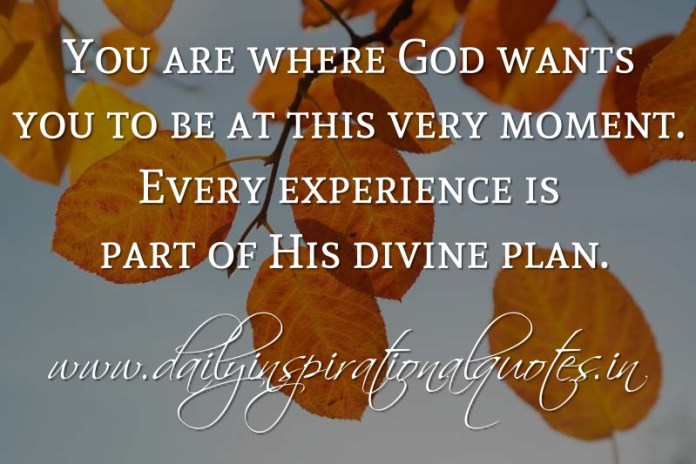 You are where God wants you to be at this very moment. Every experience is part of His divine plan. ~ Anonymous