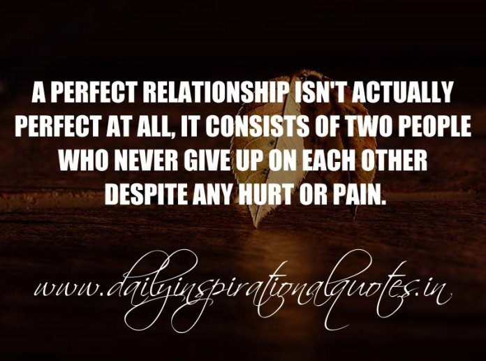 A perfect relationship isn't actually perfect at all, it consists of two people who NEVER give up on each other despite any hurt or pain. ~ Anonymous