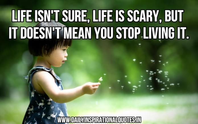 Life isn't sure, life is scary, but it doesn't mean you stop living it. ~ Anonymous