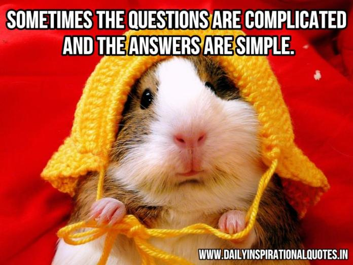 Sometimes the questions are complicated and the answers are simple. ~ Anonymous