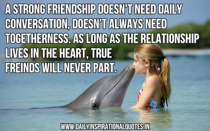A strong friendship doesn't need daily conversation, doesn't always need togetherness. as long as the relationship lives in the heart, true freinds will never part. ~ Anonymous