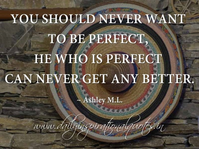 You should never want to be perfect, he who is perfect can never get any better. ~ Ashley M.L.