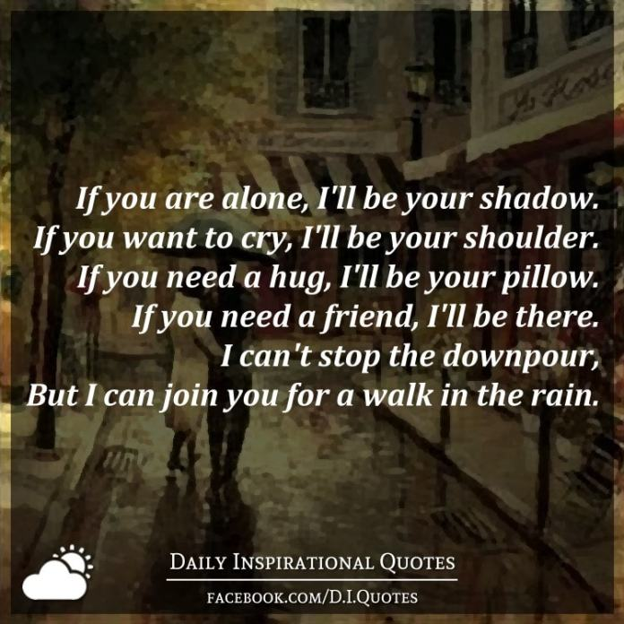 If you are alone, I'll be your shadow. If you want to cry, I'll be your shoulder. If you need a hug, I'll be your pillow. If you need a friend, I'll be there. I can't stop the downpour, But I can join you for a walk in the rain.