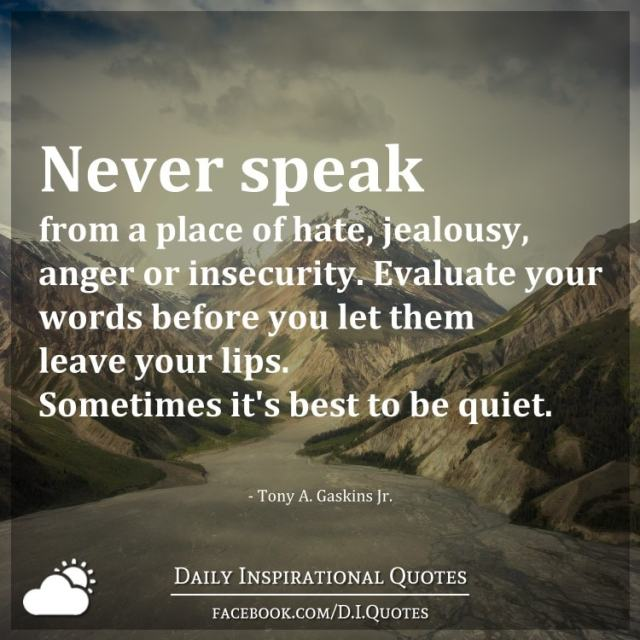 Quotes Of Anger And Hatred: Never Speak From A Place Of Hate, Jealousy, Anger Or
