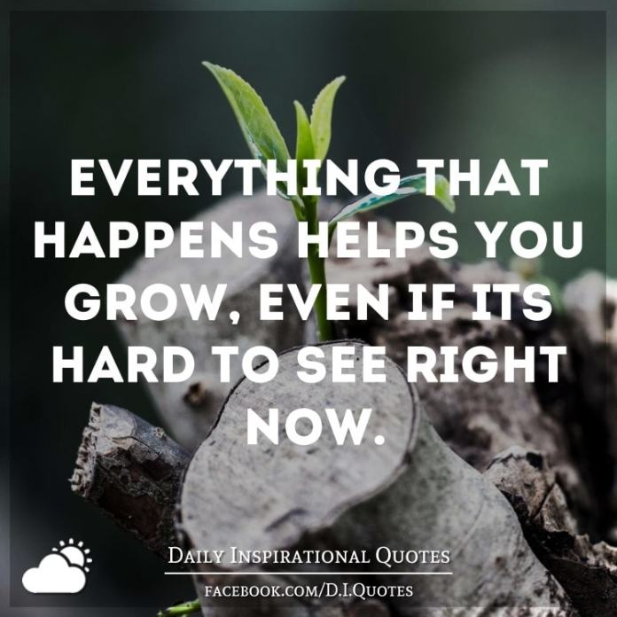 Everything that happens helps you grow, even if it's hard to see right now.