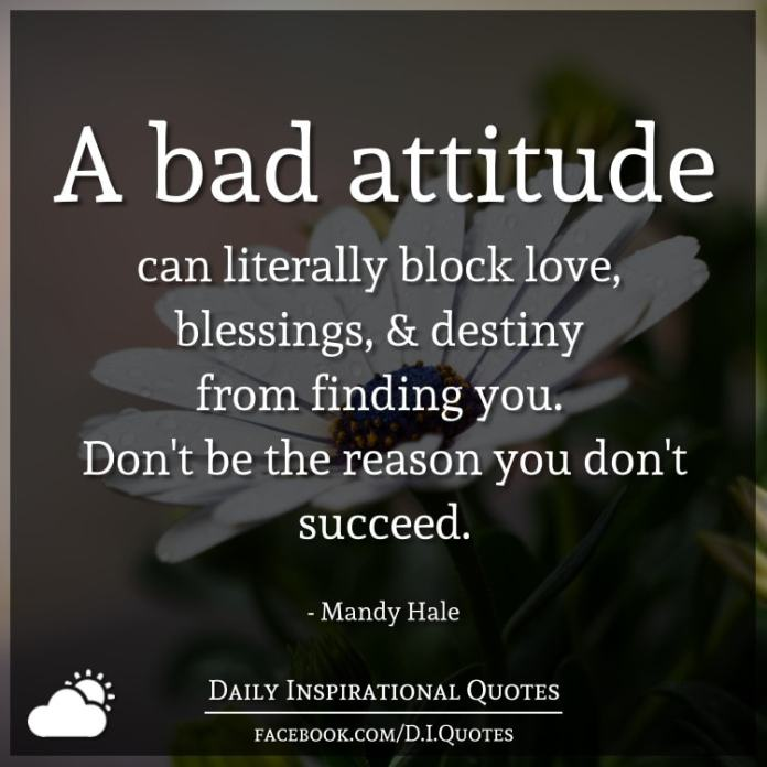 A bad attitude can literally block love, blessings, and destiny from finding you. Don't be the reason you don't succeed. - Mandy Hale