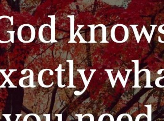 God knows exactly what you need, who you need, how much you need and when you need it. Trust him. Amen.