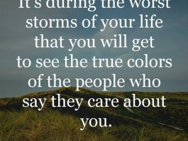 It's during the worst storms of your life that you will get to see the true colors of the people who say they care about you.
