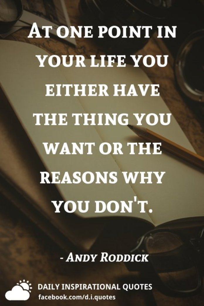 At one point in your life you either have the thing you want or the reasons why you don't. - Andy Roddick