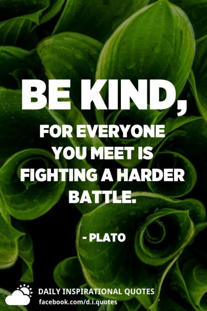 Be kind, for everyone you meet is fighting a harder battle. - Plato