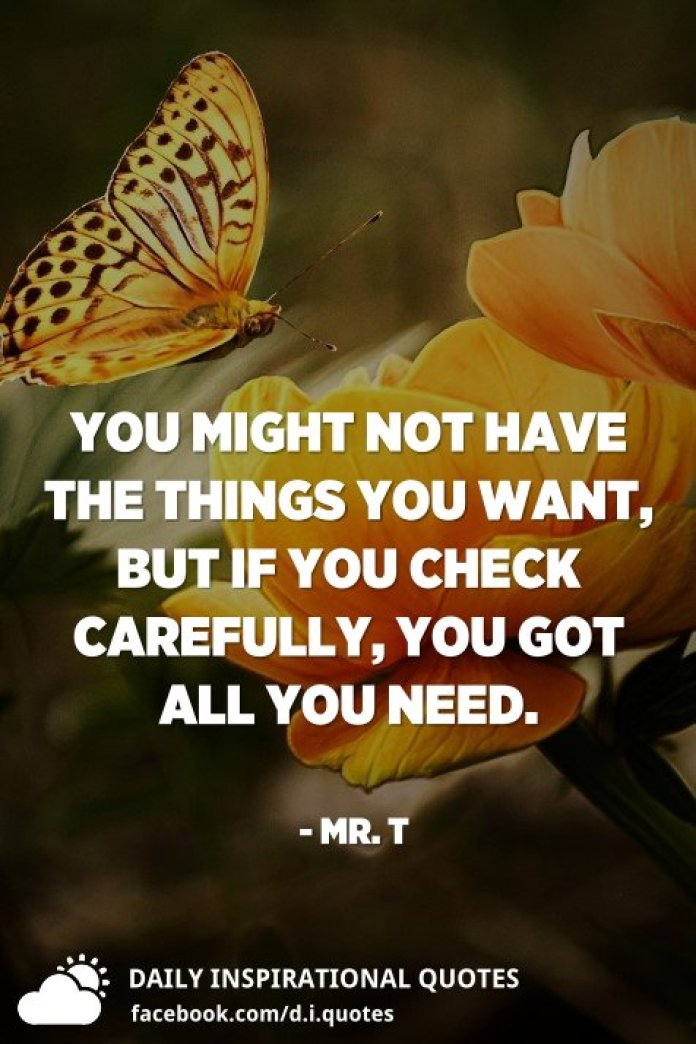 You might not have the things you want, but if you check carefully, you got all you need. - Mr. T