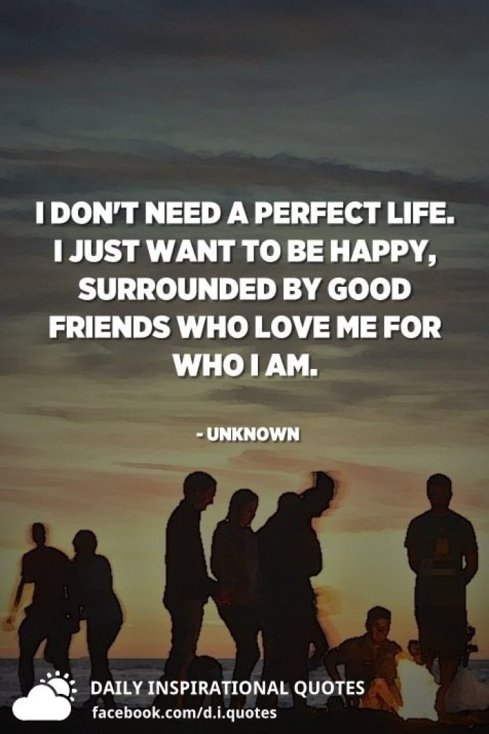 I don't need a perfect life. I just want to be happy, surrounded by good friends who love me for who I am. - Unknown