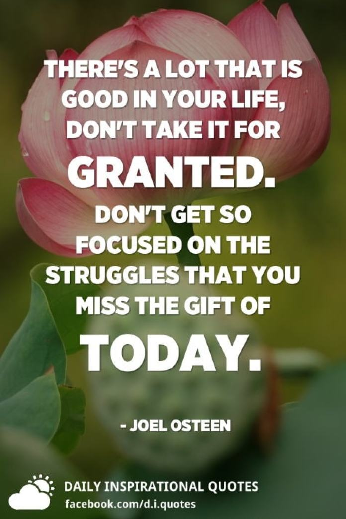 There's a lot that is good in your life, don't take it for granted. Don't get so focused on the struggles that you miss the gift of today. - Joel Osteen