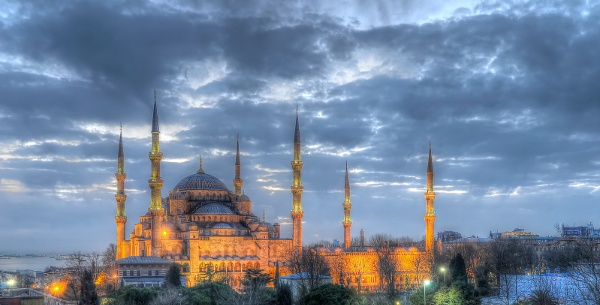 Blue Mosque at evening