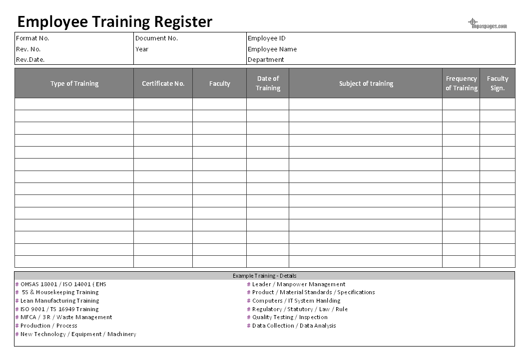 5 Employee Training Register Templates Word Excel Formats