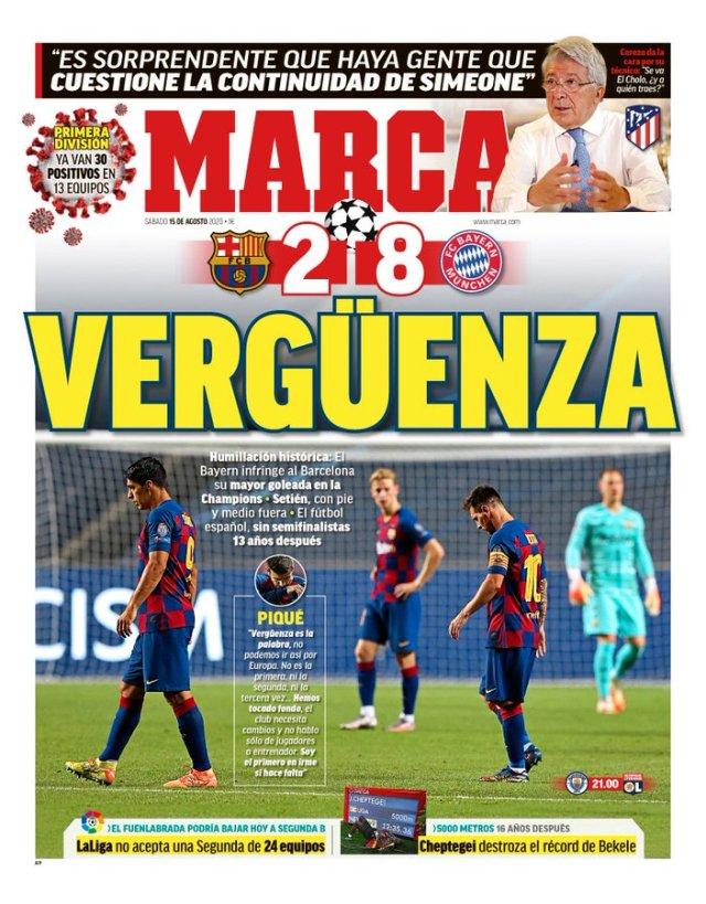 """""""Honte"""", """"humiliation historique"""" : la presse espagnole détruit le Barça - Bénin Web TV"""