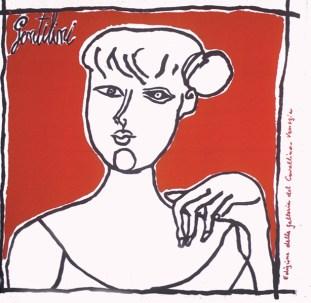 Franco Gentilini Ragazza di fronte su fondo rosso, 1959 Foulard in seta prodotto da Edizioni del Cavallino Venezia, Collezione Cardazzo