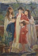 Elisabeth Chaplin, Ritratto di famiglia in giardino, 1906, olio su tela.